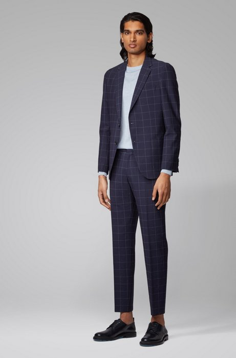 Slim-fit suit in a checked wool blend, Dark Blue