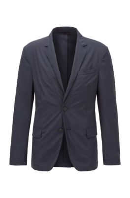 Slim-fit jacket in stretch fabric with notch lapels, Dark Blue