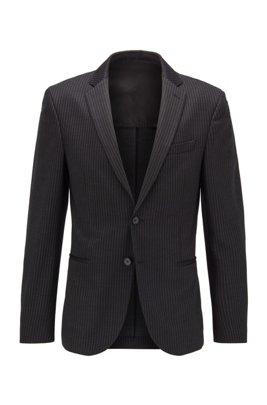 Slim-fit striped jacket in traceable virgin wool, Black