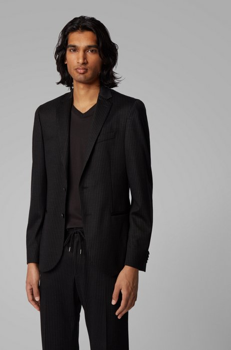 Slim-fit striped jacket in traceable virgin wool, Black