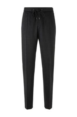 Pinstripe slim-fit pants in traceable virgin wool, Black