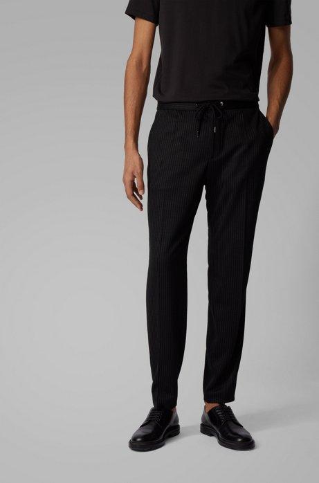 Pinstripe slim-fit pants in traceable virgin wool, Black