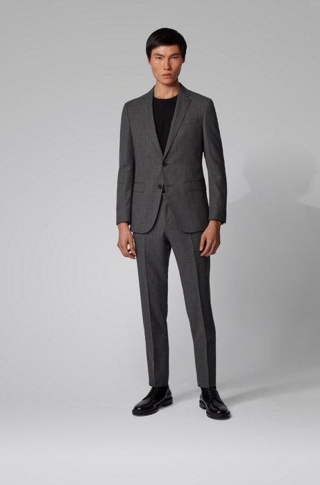 Slim-fit suit in micro-patterned traceable virgin wool, Black