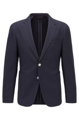 Slim-fit jacket in a virgin-wool blend, Dark Blue