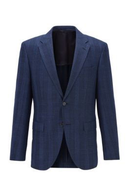 Regular-fit jacket in checked fabric with elbow patches, Dark Blue