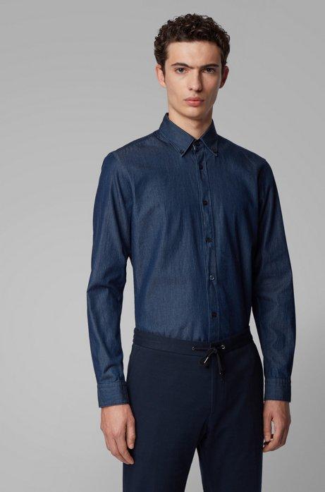 Button-down slim-fit shirt in denim twill, Dark Blue