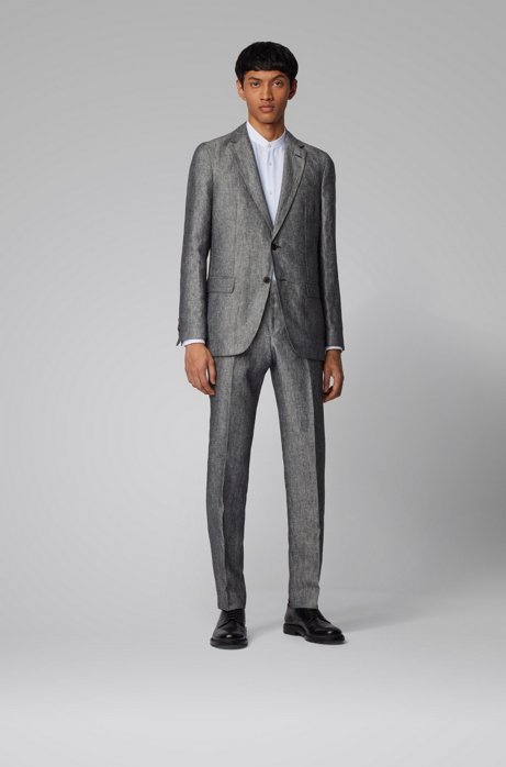Vegan slim-fit suit in Italian linen, Black
