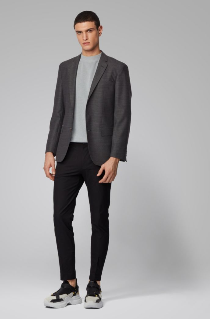 Slim-fit jacket in patterned virgin wool