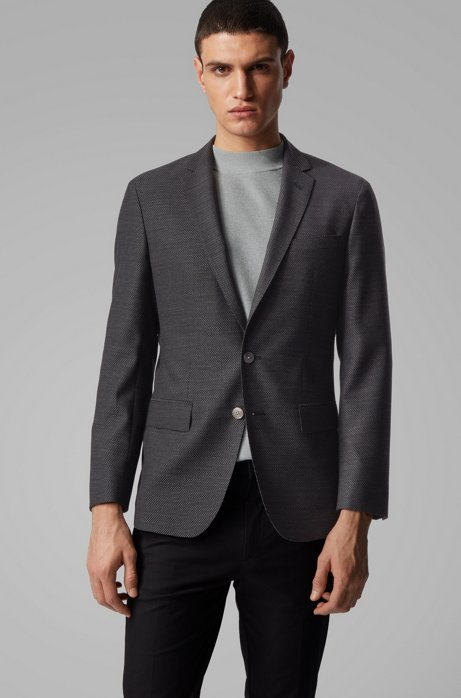 Slim-fit jacket in patterned virgin wool, Grey