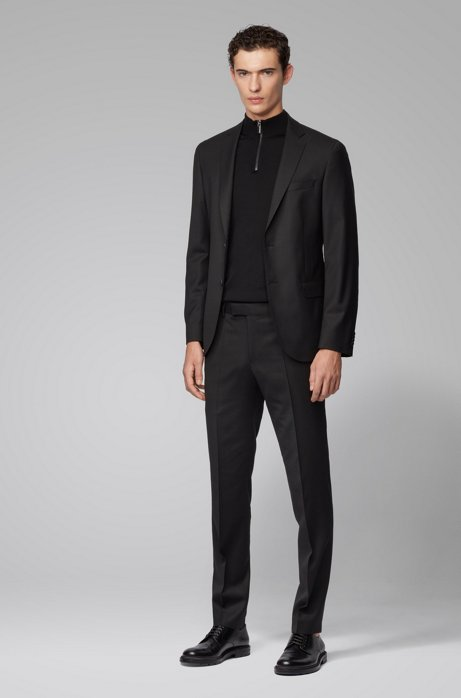 Micro-patterned slim-fit suit in stretch virgin wool, Black