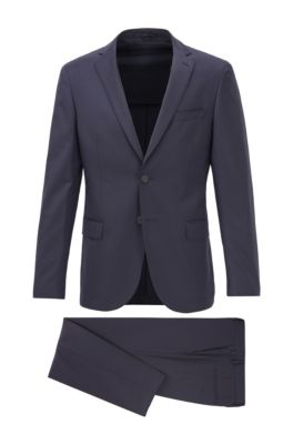 Micro-patterned slim-fit suit in stretch virgin wool, Dark Blue