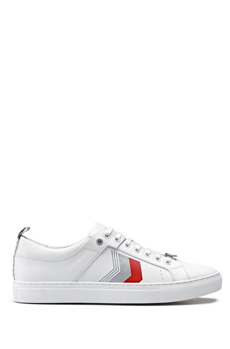 Leather sneakers with chevron detailing, White