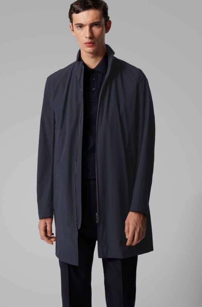 Slim-fit water-repellent coat with stand collar