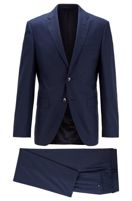 Regular-fit suit in virgin wool with silk, Dark Blue