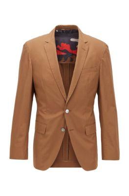 Slim-fit jacket with camouflage-print lining, Dark Brown