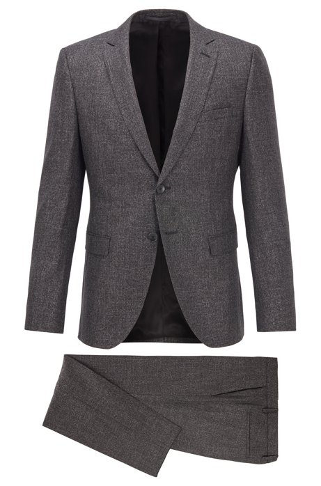 Extra-slim-fit suit in a patterned wool blend, Open Grey
