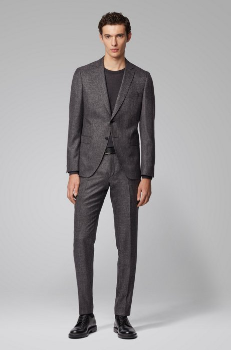 Extra-slim-fit suit in a patterned wool blend, Light Grey
