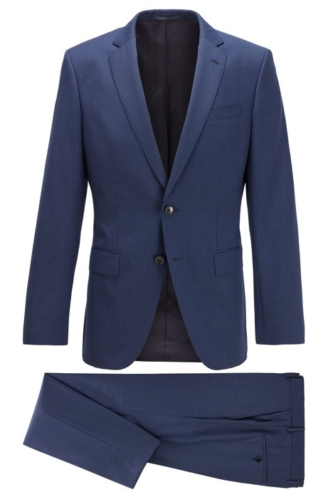 Patterned slim-fit suit in virgin-wool serge, Dark Blue