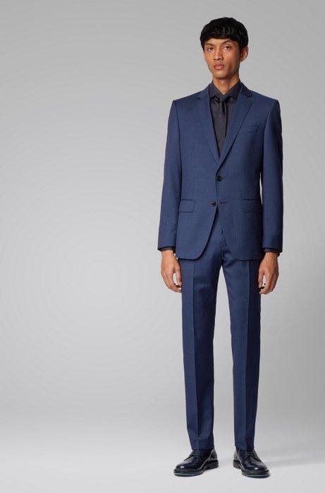 Patterned slim-fit suit in virgin-wool serge, Dark Blue