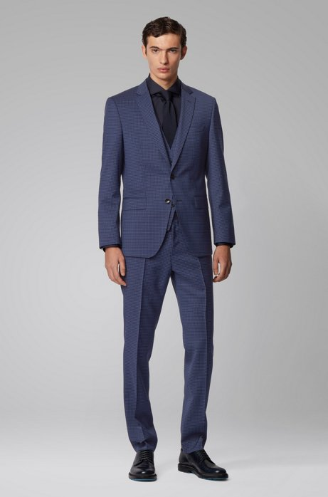 Slim-fit three-piece suit in plain-check virgin wool, Dark Blue