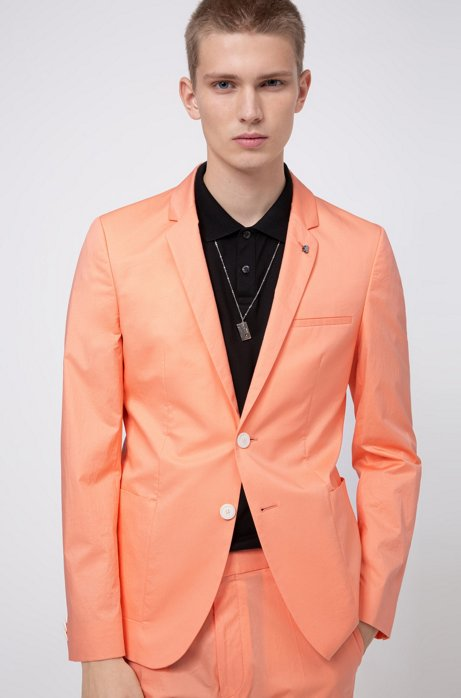 Extra-slim-fit stretch-cotton jacket with lapel pin, Light Orange
