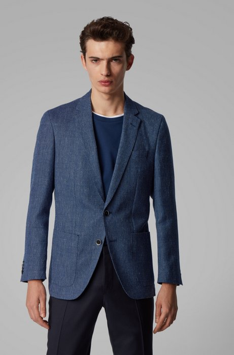 Slim-fit jacket in micro-patterned fabric, Dark Blue