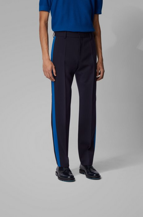 Relaxed-fit pants in stretch wool with contrast side seams, Dark Blue