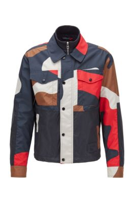 Regular-fit camouflage jacket with double collar, Red