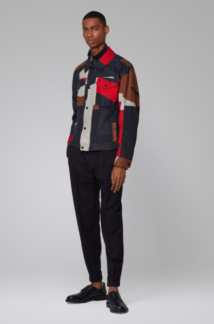 Regular-fit camouflage jacket with double collar