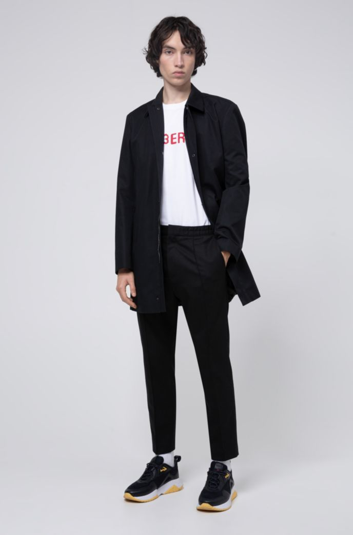 Slim-fit coat with internal reversed logo