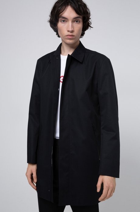 Slim-fit coat with internal reversed logo, Black