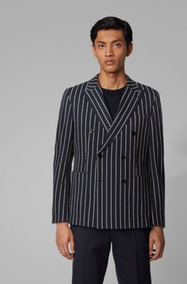 Double-breasted slim-fit jacket in a cotton blend, Dark Blue
