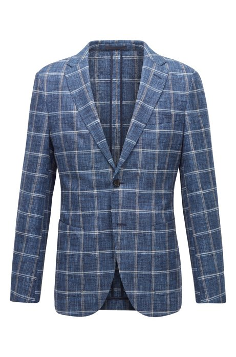 Slim-fit jacket in a plain-check fabric blend, Dark Blue
