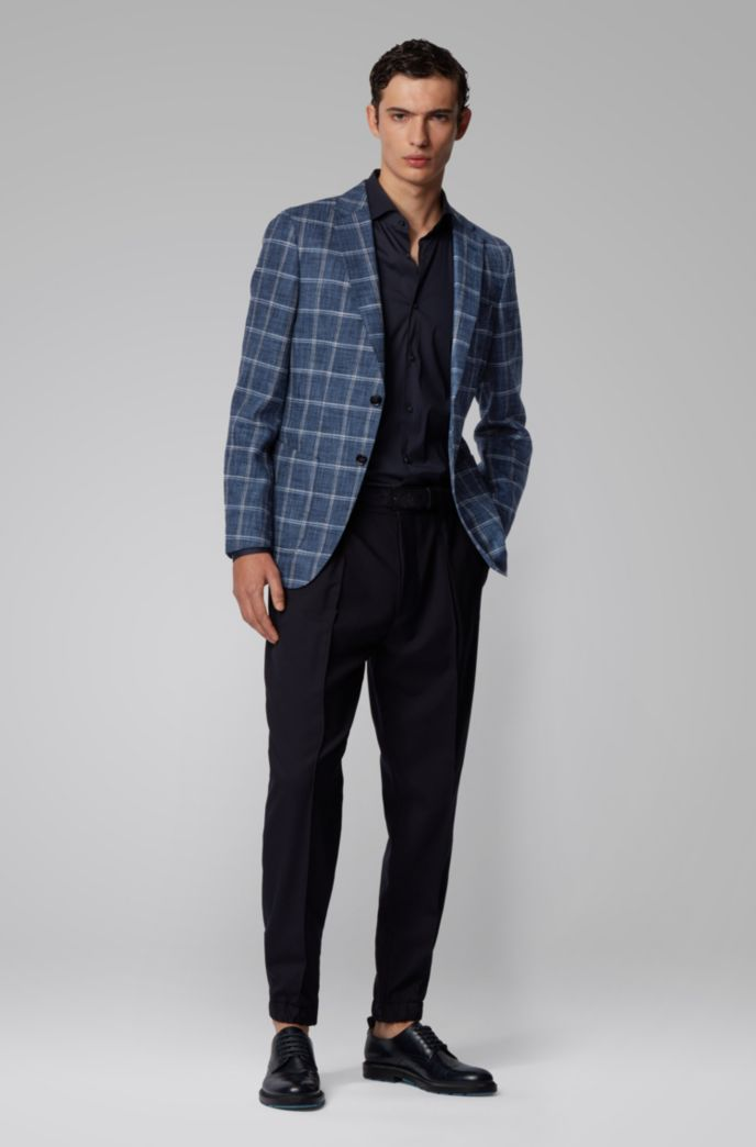 Slim-fit jacket in a plain-check fabric blend