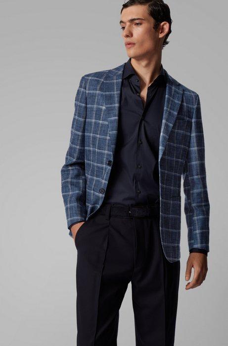Slim-fit jacket in a plain-check fabric blend, Dark Blue