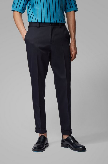 Relaxed-fit pants in patterned cotton with cropped length, Dark Blue