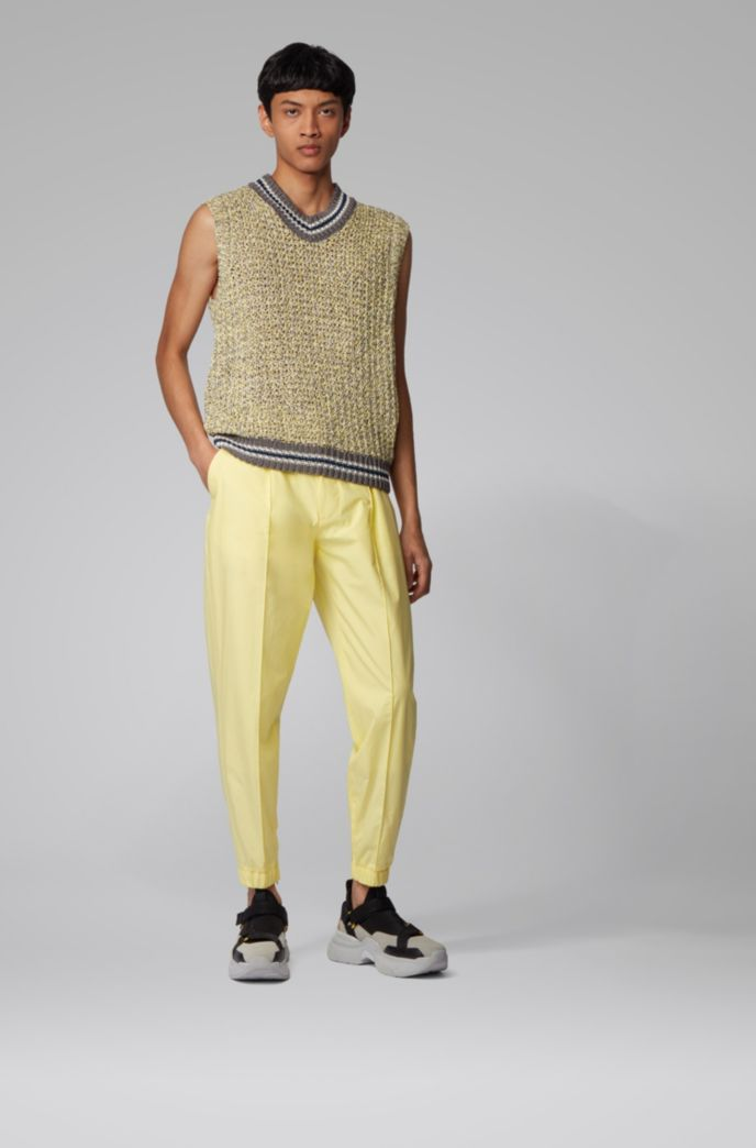 Cotton tapered-fit pants with zip-detail cuffed hems