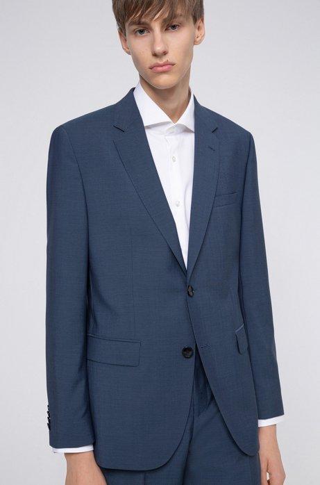 Regular-fit jacket in textured-look virgin wool, Blue