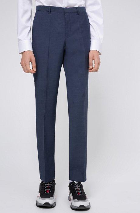 Regular-fit pants in textured-look virgin wool, Blue