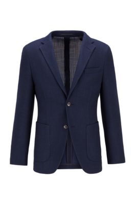 Slim-fit jacket in a cotton blend, Dark Blue