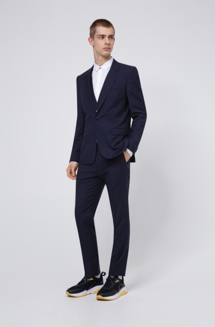 Extra-slim-fit three-piece suit in patterned wool