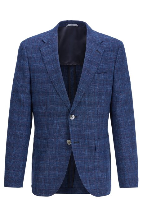 Checked regular-fit jacket in a wool blend, Blue