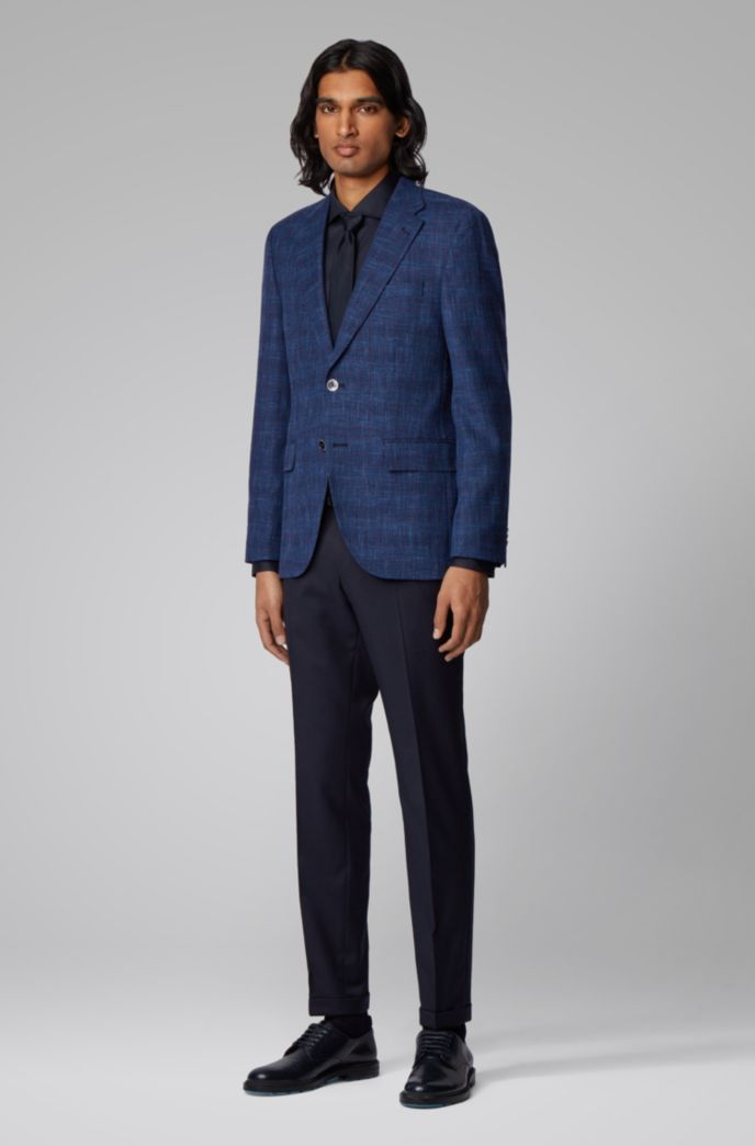 Checked regular-fit jacket in a wool blend