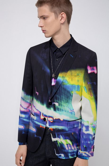 Extra-slim-fit jacket in abstract-print virgin wool, Dark Blue