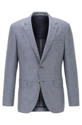 Slim-fit jacket in patterned linen, wool and silk, Light Blue