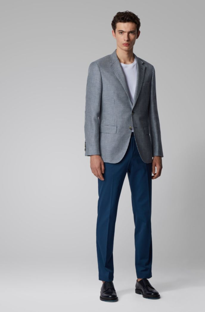 Slim-fit jacket in patterned linen, wool and silk
