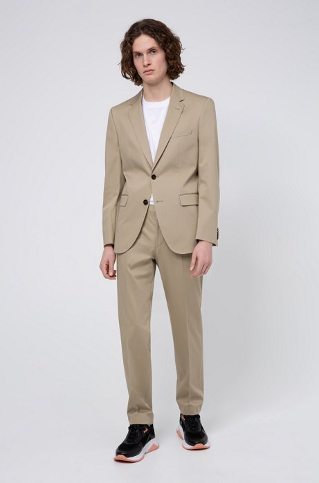 Regular-fit suit in stretch-cotton satin, Beige