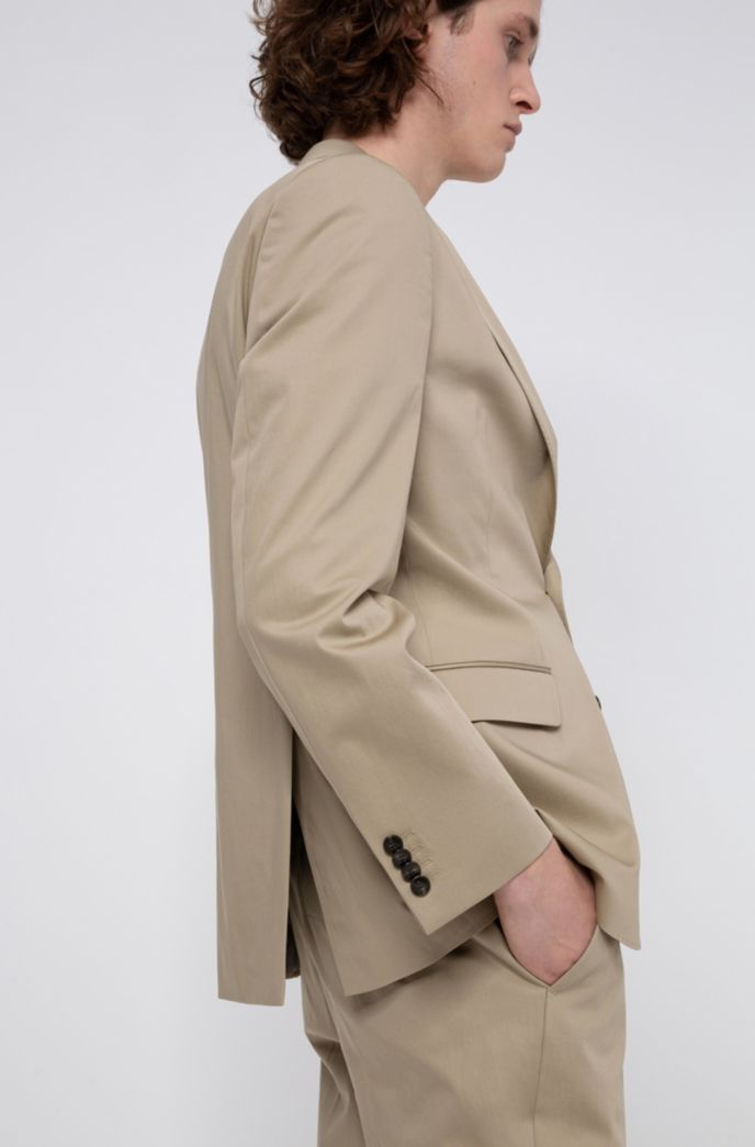 Regular-fit suit in stretch-cotton satin