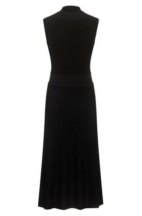 Mock-neck knitted dress with textured ribs, Black