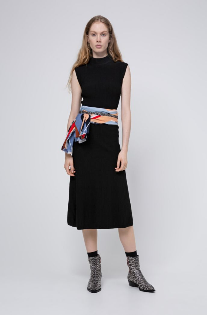 Mock-neck knitted dress with textured ribs